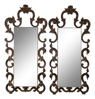 A Pair of Christopher Guy Rococo Style Mirrors Height 102 x width 47 inches.
