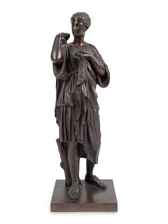 A Patinated Bronze Figure of Diana of Gabii Height 17 inches.