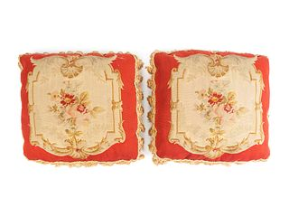 A Pair of Aubusson Tapestry Pillows 14 inches square.