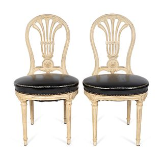 A Set of Ten Louis XVI Style White-Painted and Leather-Upholstered Chaises Height 36 x width 19 x depth 19 inches.