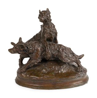 A French Patinated Bronze Group of Dogs Height 15 x length 16 x width 8 1/2 inches.