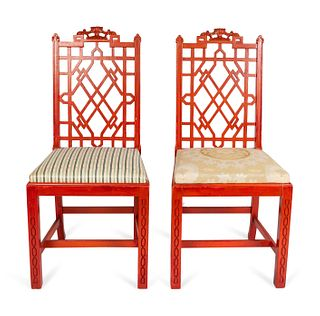 A Set of Eight Chinese Chippendale Style Red Lacquer Side Chairs