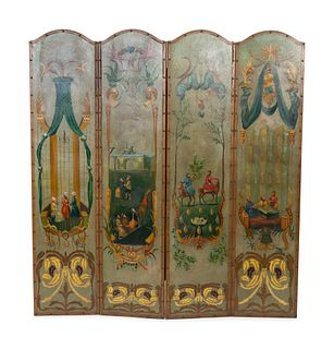 A Painted Leather Four-Panel Floor Screen Height 78 x each panel width  18 1/8