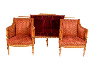 An Edwardian Painted Satinwood Three-Piece Salon Suite Height of settee 37 x length 52 x depth 28 inches; height of chairs 37 x width 27 x depth 26 in