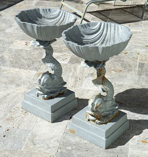 A Pair of Neoclassical Painted Iron Jardinieres Height 26 x diameter 15 1/2 inches.