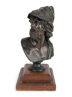 A Patinated Bronze Bust of a Menelaeus Height of bust 9 3/4 x width 7 inches; overall height 11 3/4 inches.