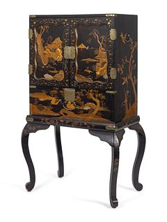 A Japanese Lacquer Cabinet on Stand Height 44 1/2 x width 23 1/2 inches.