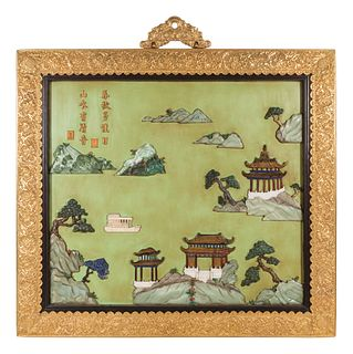 A Pair of Chinese Export Gilt Bronze-Framed Hardstone Inset Lacquered Wall Panels Height 37 3/4 x width 42 3/4 inches.