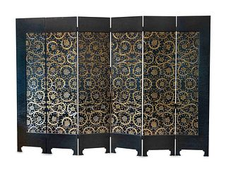 A Chinese Art Deco Style Black and Silver Lacquer Six-Panel Screen Height 94 x width of each panel 22 inches.