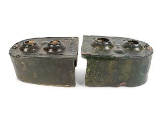 Two Chinese Green-Glazed Terracotta Stove Models Height of larger 4 x width 8 x depth 6 1/2 inches.