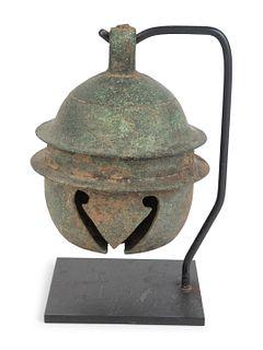 A Khmer Bronze Buffalo Bell Height 7 x diameter 5 inches.