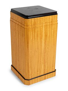 An Art Deco Style Sycamore Pedestal Height 35 x width 18 x depth 18 inches.