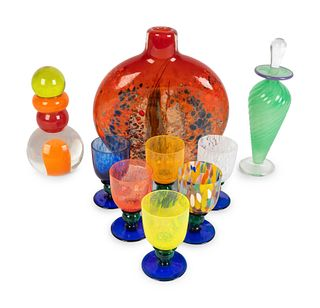 Nine Art Glass Articles Height of tallest 7 1/2 inches.