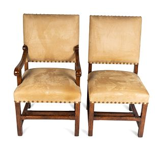A Set of Ten Rouleau Walnut Dining Chairs Height of armchair 40 x width 23 x depth 21 inches.