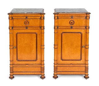 A Pair of Faux Bamboo-Turned Maple Bedside Cupboards Height 36 3/4 x width 20x depth 14 1/2 inches.