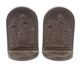 Edwin E. Codman (American, 1876-1955) A Pair of Bronze Bookends