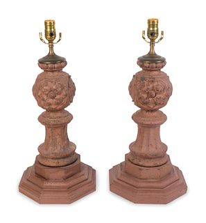 A Pair of Cast and Painted Metal Table Lamps Height of bases 17 inches.