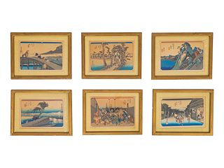 A Set of Twelve Japanese Woodblock Prints Each sight 6 x 9 inches.