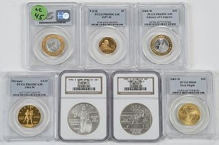 Seven Modern Commemorative Coins