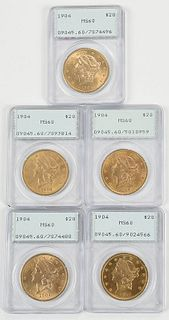 Five Liberty Head $20 Gold Coins