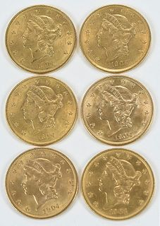 Six Liberty Head $20 Gold Coins