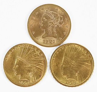 Three $10 Gold Coins