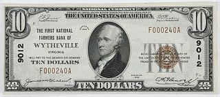 1929 $10 FN Farmers Bank Wytheville, VA