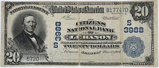1902 $20 Citizens NB Lebanon, Kentucky