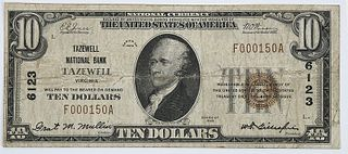 1929 $10 Tazewell National Bank, Virginia
