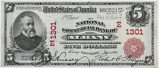1902 $5 National Commercial Bank Albany, NY