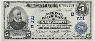 1902 $5 National Park Bank New York, NY