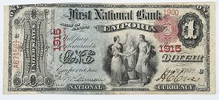 1875 $1 First NB Emporia, Kansas