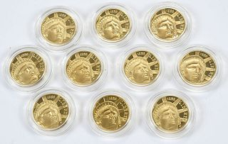 Ten Statue of Liberty Centennial $5 Gold Coins