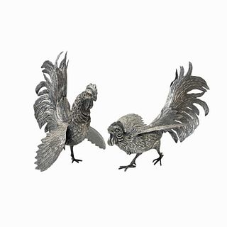 Pair of Silver Rooster Sculptures