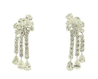 Platinum 30.00ct Diamond Drop Earrings