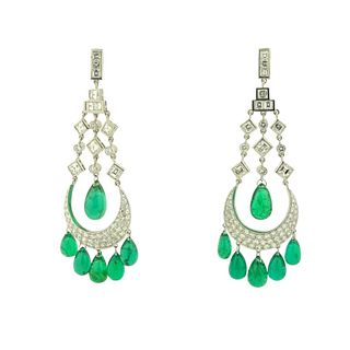 26.50ct Emerald & 5.50ct Earrings
