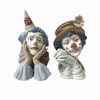 Pair of Lladro Porcelain Clown Face Sculptures