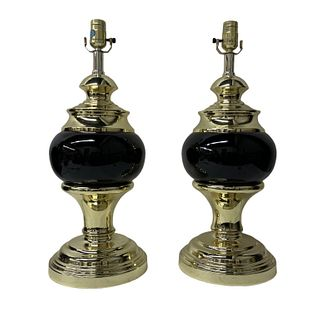Pair of Art Deco Gold Metallic Lamps
