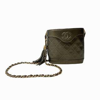 Classic Chanel Green Metallic Crossbody Bag
