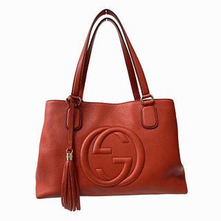 Gucci Red Leather Soho Tote Shoulder Bag