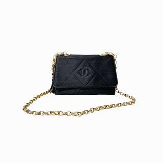 Vintage Chanel Charcoal Black Suede Leather Purse