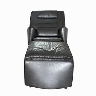 Vintage Black Leather Full Reclining Chair