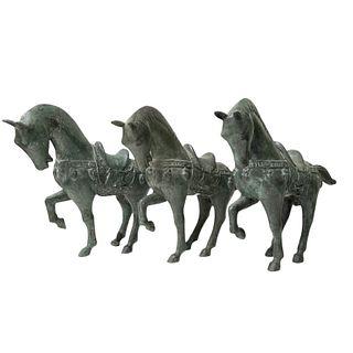 (3) Three Chinese Bronze Horses