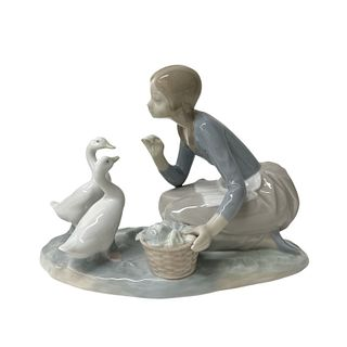 Lladro Girl With Duck Group Porcelain Figure