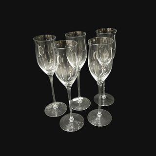 (5) Five Art Glass champagne Glasses