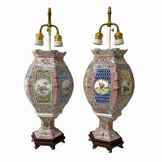 Pair of 20th Century Chinese Porcelain Lamps
