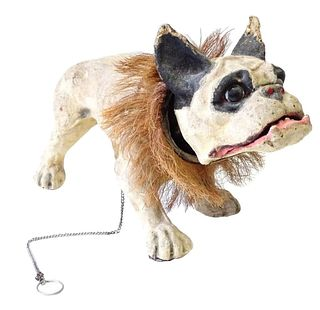 """Antique Paper Mache French """"Growler Dog"""""""