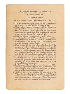 "COBB, Humphrey (1899-1944). [Paths of Glory]. ""Advance Copy of A Novel (As Yet Untitled)."" New York: The Viking Press, 1935."
