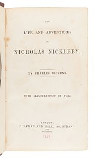 DICKENS, Charles (1812-1870). The Life and Adventures of Nicholas Nickleby. London: Chapman & Hall, 1839. A second copy.