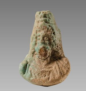 Ancient EGYPTIAN Faience Bust Of Zeus Serapis c.3rd century BCE.